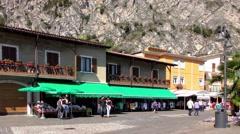 Tourists in Limone sul Garda, Lake Garda, Italy Stock Footage