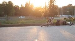 BMX bike on the Sunset Stock Footage
