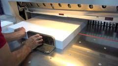 Modern paper guillotine with touch screen used in commercial printing industr Stock Footage