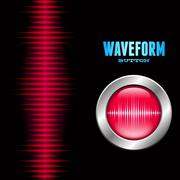 Silver button with sound waveform sign Stock Illustration