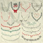 Vector Hand Sketched Doodle Floral Wreaths, Laurels - stock illustration