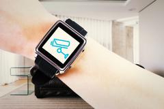 Composite image of woman using smartwatch Stock Illustration