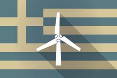 Stock Illustration of Greece  long shadow flag with a wind generator