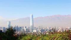 Santiago, chile. View from Cerro San Cristobal. In the background, the Andes  Stock Footage