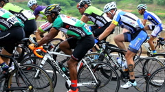 Men Cycling Road Bicycle Outdoors Fitness Steadicam Shot. Cycling Event, Brazil Stock Footage