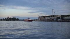 Dusk across the sea.  Helsinki. With Talliinn hydrofoil Stock Footage