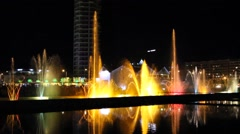Night view of the dancing fountains and House of Justice Stock Footage