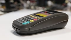 Pay by credit card over the wireless trading terminal Stock Footage