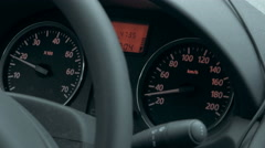 Car dashboard with low speed shown Stock Footage