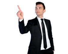 Business man pressing Stock Photos
