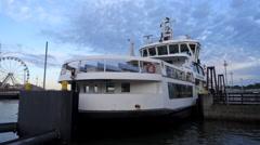 The Suomenlinna ferry leaving Helsinki at dusk. Stock Footage