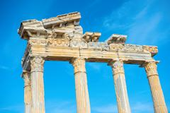 Part of construction ancient ruins Apollo Temple Roman Empire, Side, Turkey Stock Photos