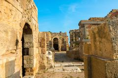 Beautiful view of ancient ruins Roman Empire, sity Side, Turkey, archeology b Stock Photos