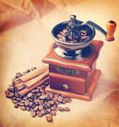 Coffee in a coffee grinder. Vintage retro hipster style version Stock Photos