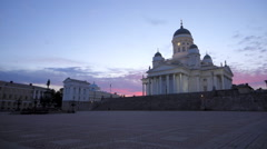 Helsinki cathedral and senate square at dusk Stock Footage