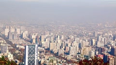 Aerial view on skyscrapers of Financial District of Santiago, capital of Chile  - stock footage