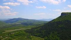 Sunny time lapse of mountains, Crimea, Bakhchisaray Stock Footage