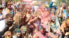 color fest Holi, people rejoice - stock footage