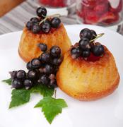 Delicious cupcakes with black currant. breakfast Stock Photos