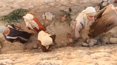 Israelites Walk Ancient Streets, Biblical Reenactment Stock Footage
