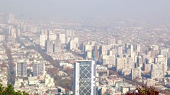 Stock Video Footage of Santiago, chile. View from Cerro San Cristobal. In the background, the Andes