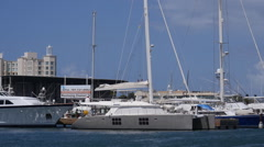 LUXURY YACHT CATAMARAN in boat marina Stock Footage