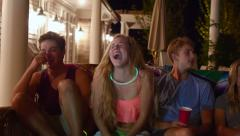 Teen Friends Have Fun At A Pool Party, After Swimming, They Joke And Laugh (4K) Stock Footage