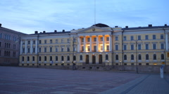 Senate square, Helsinki at dusk Stock Footage