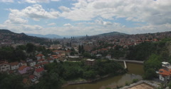 Sarajevo aerial shot, Bosnia and Herzegovina, Old town Stock Footage