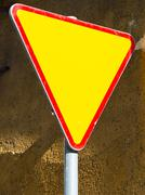 Give way sign - yield sign - stock photo