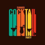 summer cocktail party menu design background - stock illustration