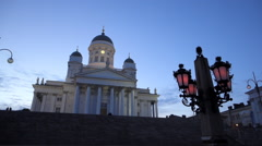 Helsinki cathedral at dusk Stock Footage