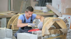Young man in masonry professional school Stock Footage