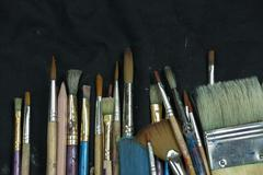 Selection of artist paint brushes - stock photo