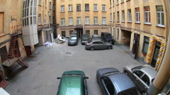 Quadrangle inner yard of residential house with car parking area, Russia Stock Footage
