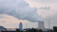 Time-lapse footage of the Isar nuclear power plant in Essenbach, Germany Stock Footage
