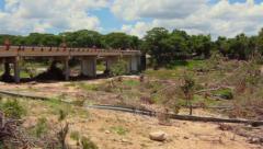 Flood Aftermath Wimberly Bridge Pan - stock footage