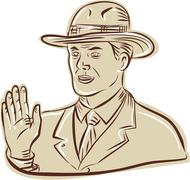 Businessman Fedora Hat Vintage Etching - stock illustration