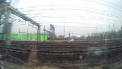 Passenger pov of fast moving train with view of railtracks. UHD 4K stock foot Stock Footage