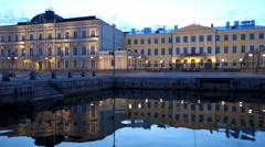 The royal Palace, Helsinki. Dusk Stock Footage