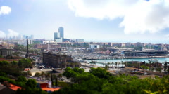 Barcelona Panorama, Tile Shift, Time Lapse Stock Footage