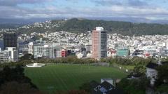 Pan of skyline, Wellington, New Zealand Stock Footage