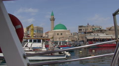 Port of the old city of Acre. - stock footage