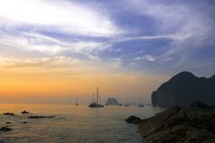 Sunset Paints on Charlie Beach. - stock photo