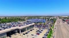 Drone, 4K, UHD, Aerial  view of Solar Panels at Auto Dealership Stock Footage