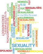Sexuality multilanguage wordcloud background concept - stock illustration