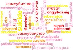 Sucide multilanguage wordcloud background concept - stock illustration