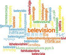 Television multilanguage wordcloud background concept - stock illustration