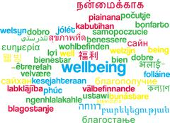 Wellbeing multilanguage wordcloud background concept - stock illustration