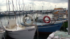 Boats in the port of the old city of Acre. - stock footage